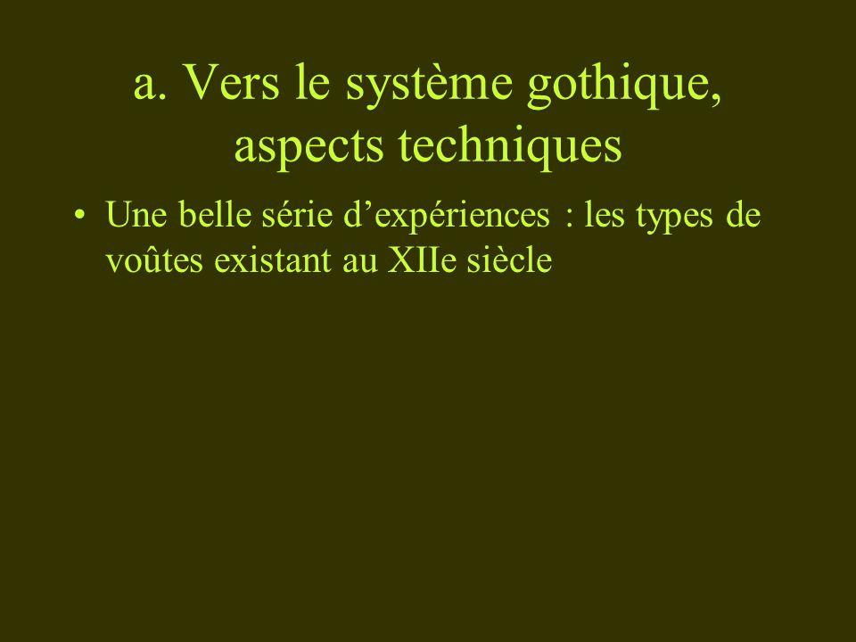 a. Vers le système gothique, aspects techniques Une belle série dexpériences : les types de voûtes existant au XIIe siècle
