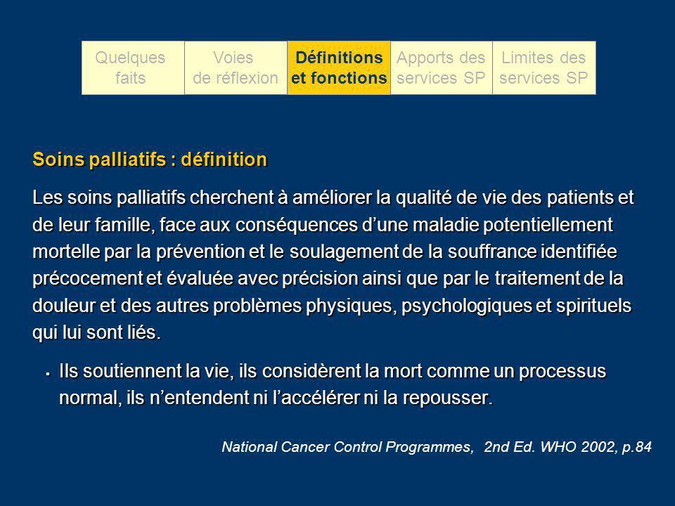 Soins palliatifs : définition Les soins palliatifs cherchent à améliorer la qualité de vie des patients et de leur famille, face aux conséquences dune