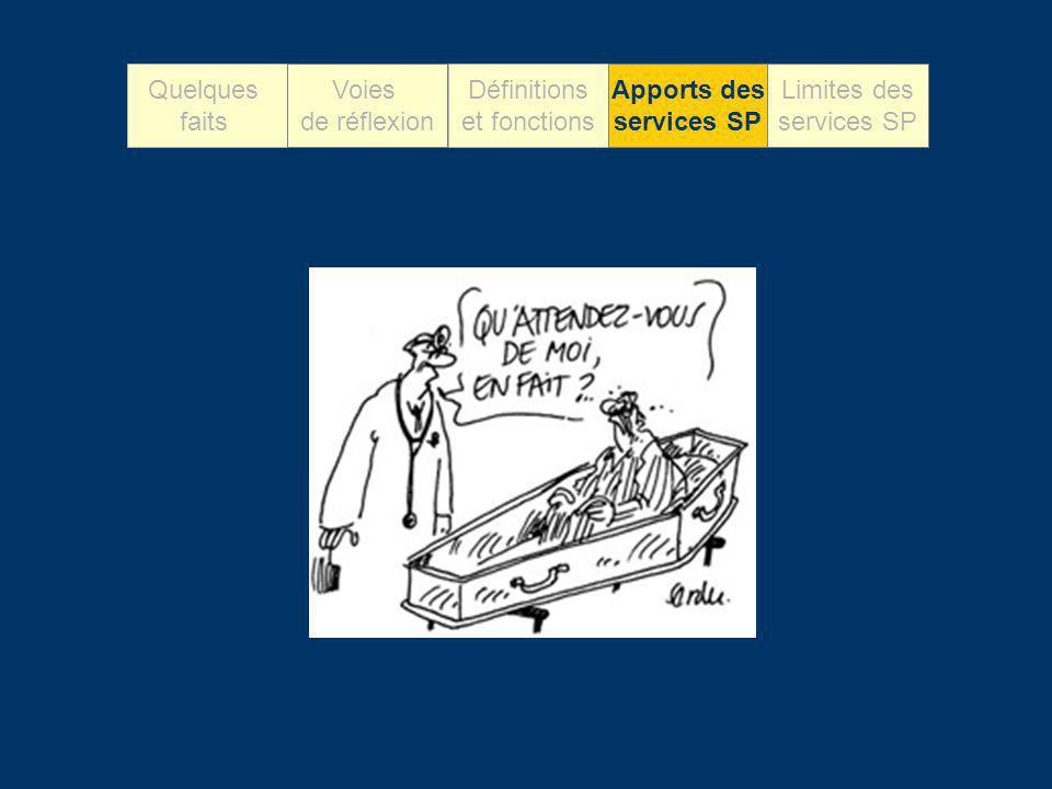 Quelques faits Voies de réflexion Définitions et fonctions Apports des services SP Limites des services SP