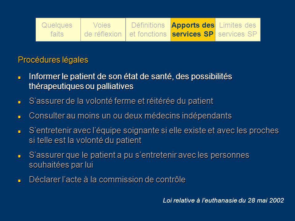 Procédures légales Informer le patient de son état de santé, des possibilités thérapeutiques ou palliatives Informer le patient de son état de santé,