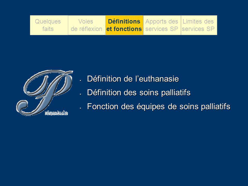 Définition de leuthanasie Définition de leuthanasie Définition des soins palliatifs Définition des soins palliatifs Fonction des équipes de soins pall