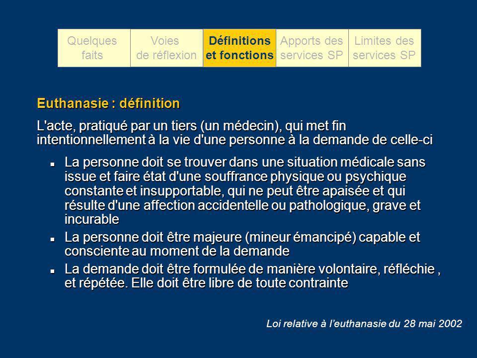 Euthanasie : définition L'acte, pratiqué par un tiers (un médecin), qui met fin intentionnellement à la vie d'une personne à la demande de celle-ci La