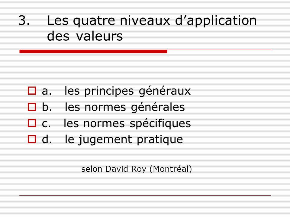 3.Les quatre niveaux dapplication des valeurs a. les principes généraux b.