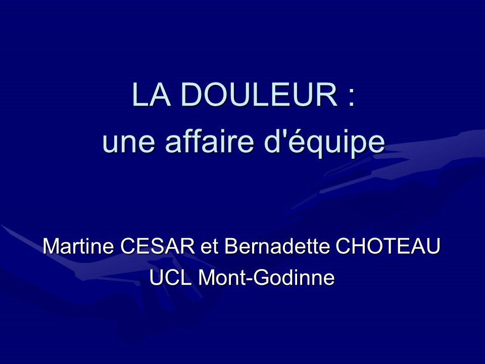 LA DOULEUR : une affaire d'équipe Martine CESAR et Bernadette CHOTEAU UCL Mont-Godinne