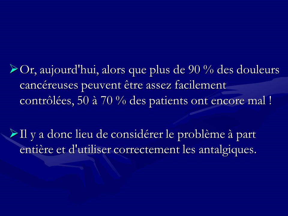 Or, aujourd'hui, alors que plus de 90 % des douleurs cancéreuses peuvent être assez facilement contrôlées, 50 à 70 % des patients ont encore mal ! Or,