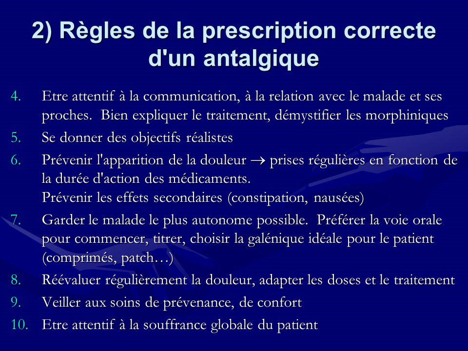 2) Règles de la prescription correcte d'un antalgique 4.Etre attentif à la communication, à la relation avec le malade et ses proches. Bien expliquer