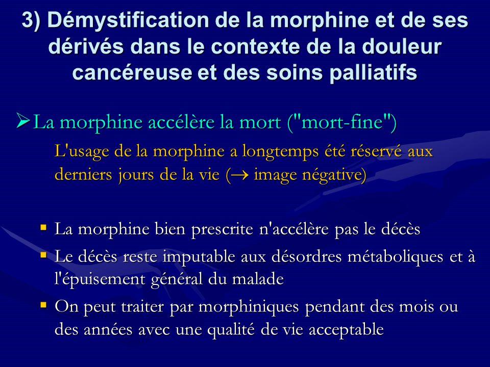 3) Démystification de la morphine et de ses dérivés dans le contexte de la douleur cancéreuse et des soins palliatifs La morphine accélère la mort (