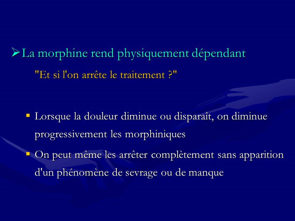 La morphine rend physiquement dépendant La morphine rend physiquement dépendant