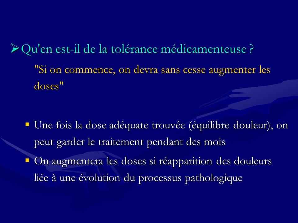 Qu'en est-il de la tolérance médicamenteuse ? Qu'en est-il de la tolérance médicamenteuse ?