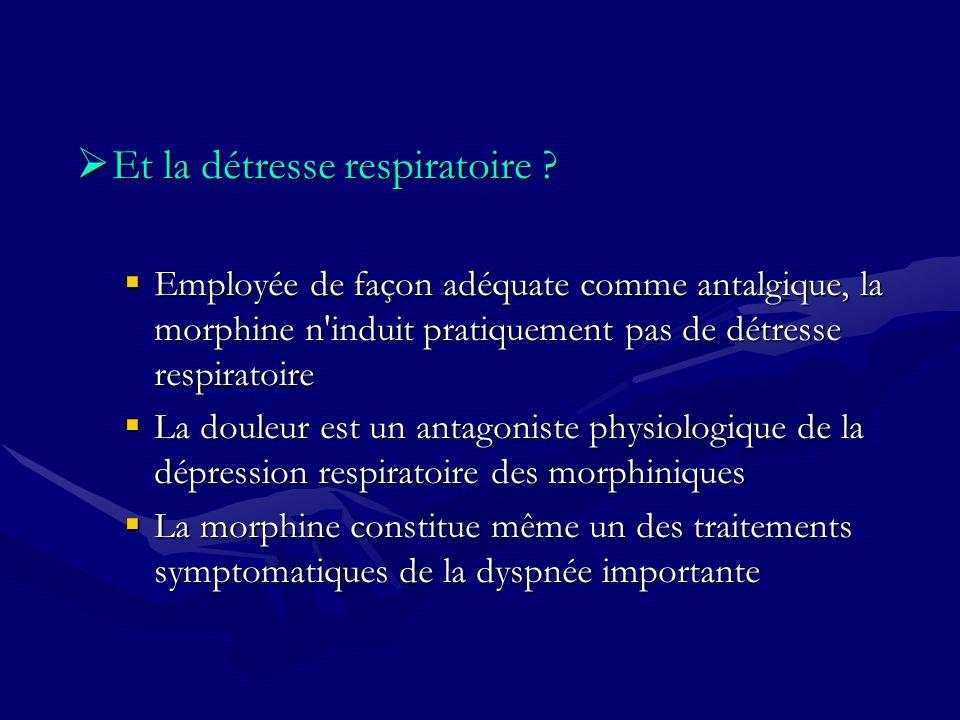 Et la détresse respiratoire ? Et la détresse respiratoire ? Employée de façon adéquate comme antalgique, la morphine n'induit pratiquement pas de détr