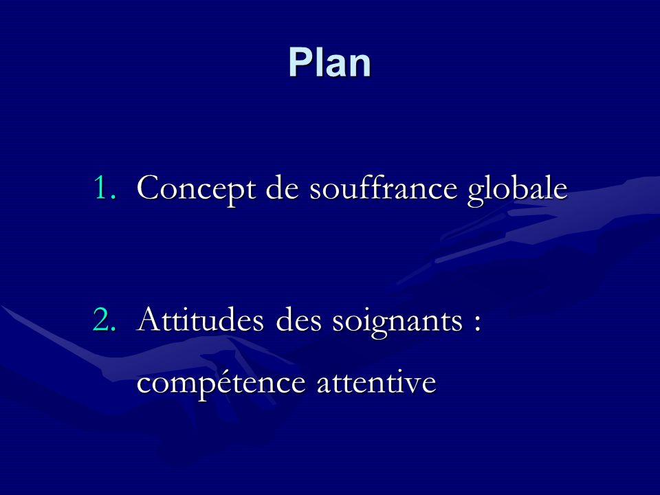 Plan 1.Concept de souffrance globale 2.Attitudes des soignants : compétence attentive