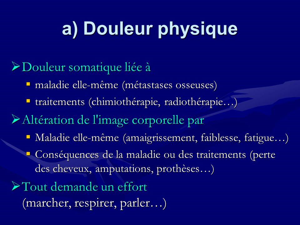 a) Douleur physique Douleur somatique liée à Douleur somatique liée à maladie elle-même (métastases osseuses) maladie elle-même (métastases osseuses)