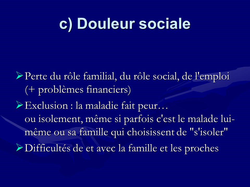 c) Douleur sociale Perte du rôle familial, du rôle social, de l'emploi (+ problèmes financiers) Perte du rôle familial, du rôle social, de l'emploi (+