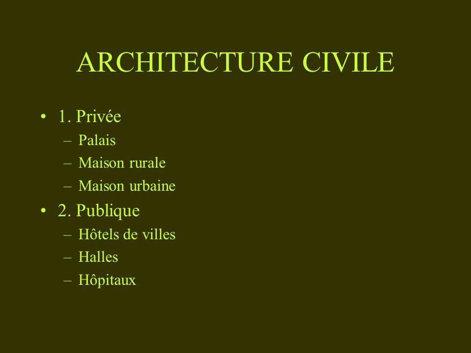 ARCHITECTURE CIVILE 1. Privée –Palais –Maison rurale –Maison urbaine 2. Publique –Hôtels de villes –Halles –Hôpitaux
