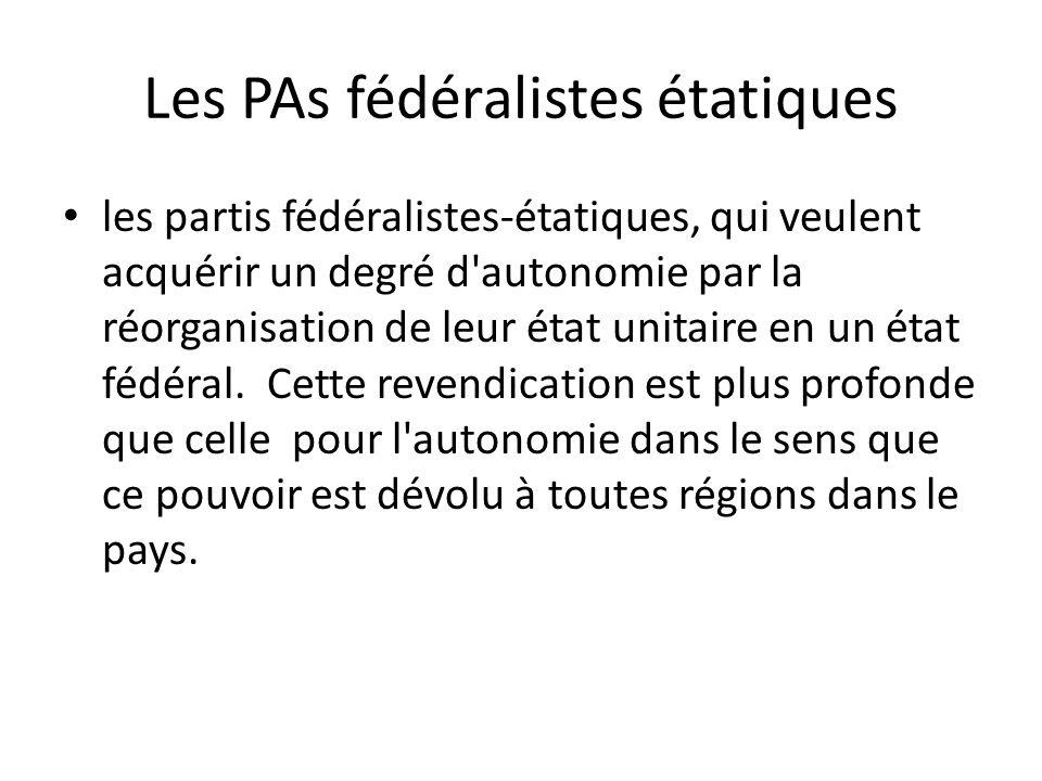 Les PAs fédéralistes étatiques les partis fédéralistes-étatiques, qui veulent acquérir un degré d autonomie par la réorganisation de leur état unitaire en un état fédéral.