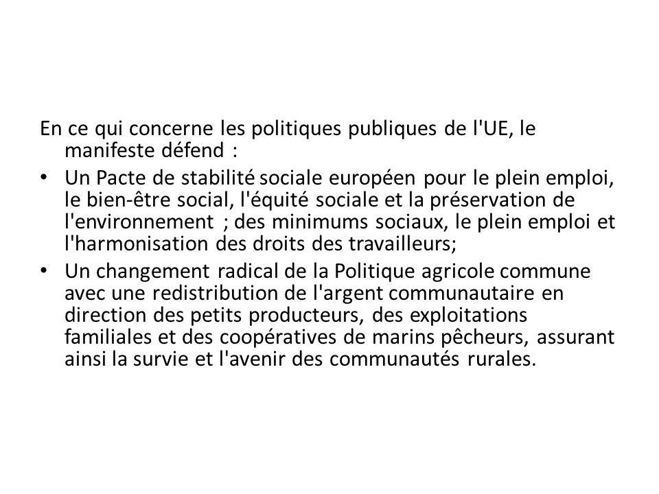 En ce qui concerne les politiques publiques de l'UE, le manifeste défend : Un Pacte de stabilité sociale européen pour le plein emploi, le bien-être s