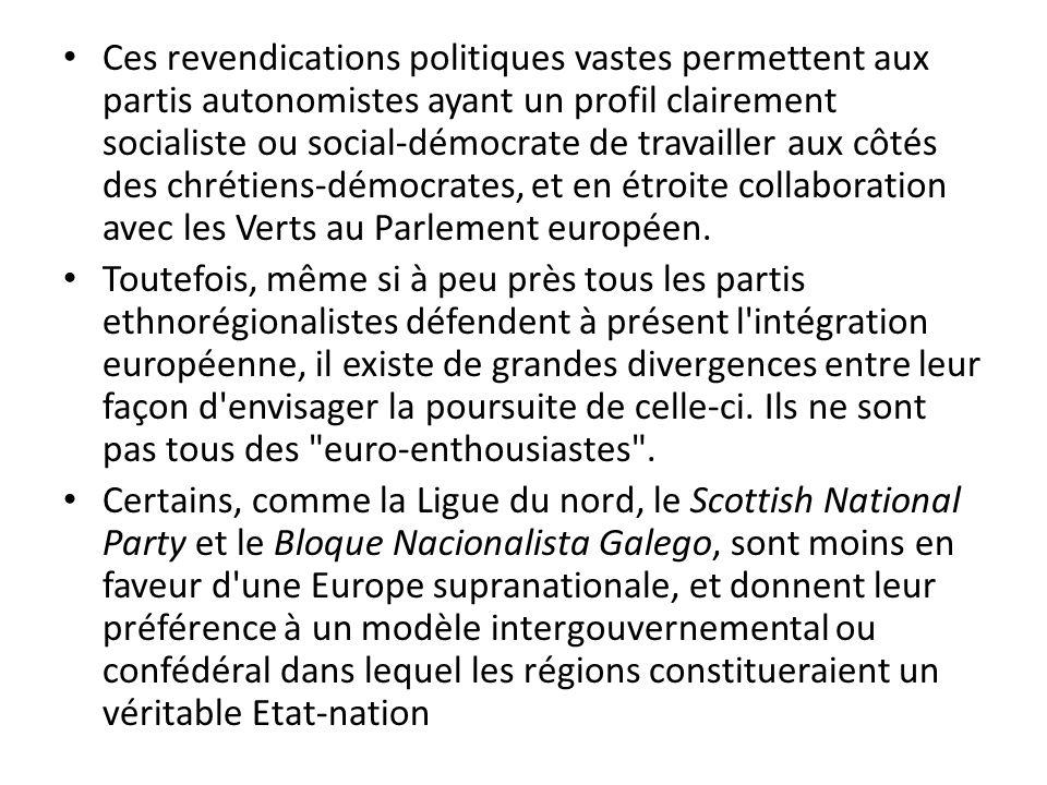 Ces revendications politiques vastes permettent aux partis autonomistes ayant un profil clairement socialiste ou social-démocrate de travailler aux côtés des chrétiens-démocrates, et en étroite collaboration avec les Verts au Parlement européen.