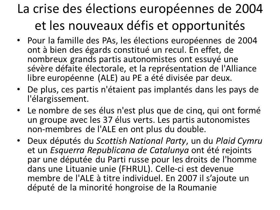 La crise des élections européennes de 2004 et les nouveaux défis et opportunités Pour la famille des PAs, les élections européennes de 2004 ont à bien des égards constitué un recul.