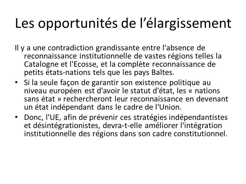 Les opportunités de lélargissement Il y a une contradiction grandissante entre l absence de reconnaissance institutionnelle de vastes régions telles la Catalogne et l Ecosse, et la complète reconnaissance de petits états-nations tels que les pays Baltes.