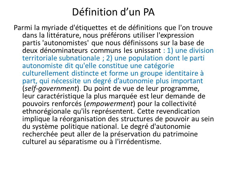 Les PAs, le clivage centre/périphérie et lintégration européenne Envisagé comme un processus de transfert de compétences du niveau national et régional à un niveau supérieur, l intégration européenne constitue une aggravation du déficit démocratique défini comme la distance entre les décisionnaires et les bénéficiaires des politiques publiques.