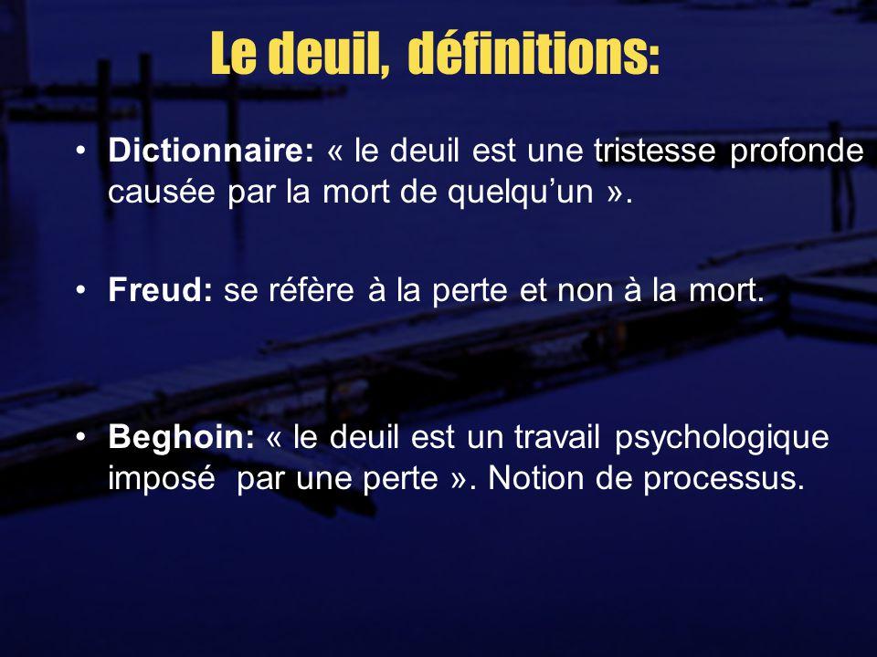 Le deuil, définitions: Dictionnaire: « le deuil est une tristesse profonde causée par la mort de quelquun ».