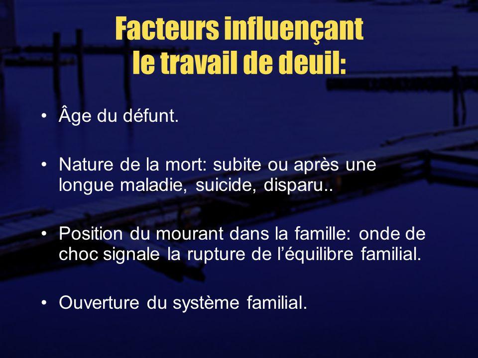 Facteurs influençant le travail de deuil: Âge du défunt.