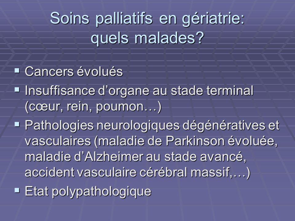 Soins palliatifs en gériatrie: quels malades? Cancers évolués Cancers évolués Insuffisance dorgane au stade terminal (cœur, rein, poumon…) Insuffisanc