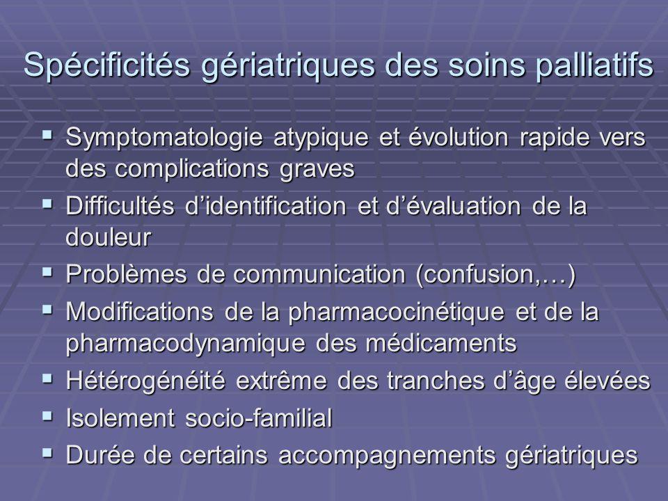 Spécificités gériatriques des soins palliatifs Spécificités gériatriques des soins palliatifs Symptomatologie atypique et évolution rapide vers des co