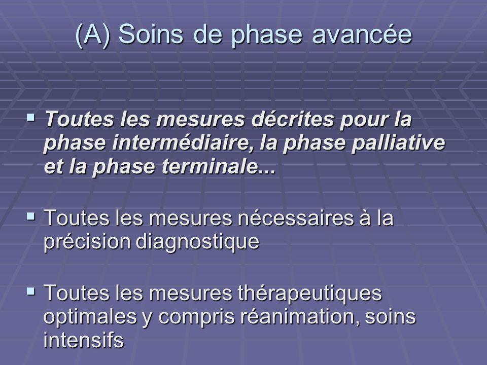 (A) Soins de phase avancée Toutes les mesures décrites pour la phase intermédiaire, la phase palliative et la phase terminale... Toutes les mesures dé