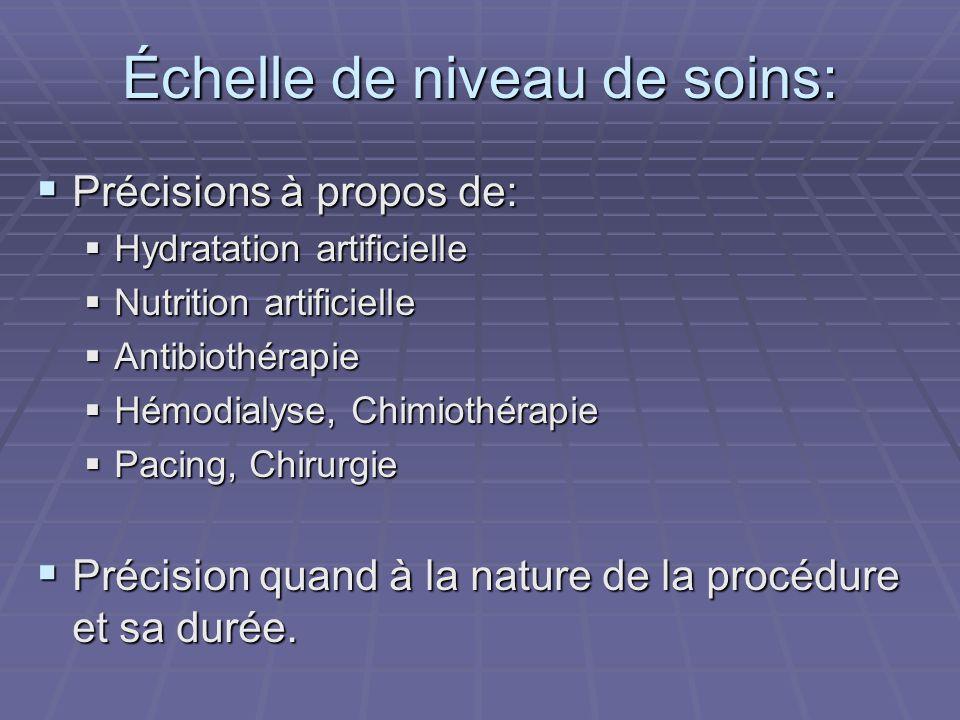 Échelle de niveau de soins: Précisions à propos de: Précisions à propos de: Hydratation artificielle Hydratation artificielle Nutrition artificielle N