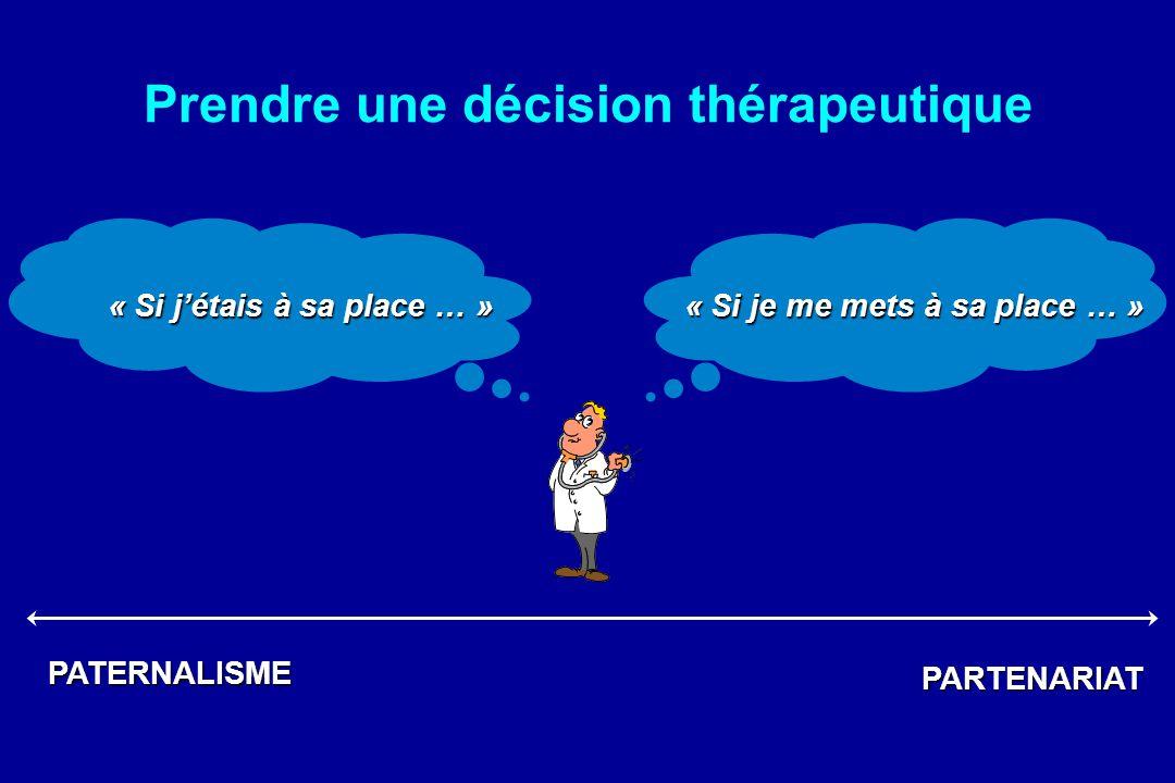 Prendre une décision thérapeutique « Si je me mets à sa place … » « Si jétais à sa place … » PATERNALISME PARTENARIAT