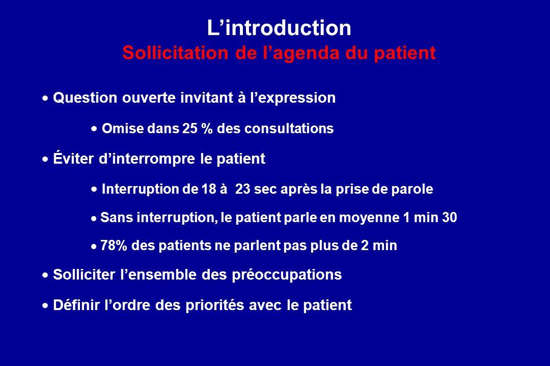 Question ouverte invitant à lexpression Omise dans 25 % des consultations Éviter dinterrompre le patient Interruption de 18 à 23 sec après la prise de