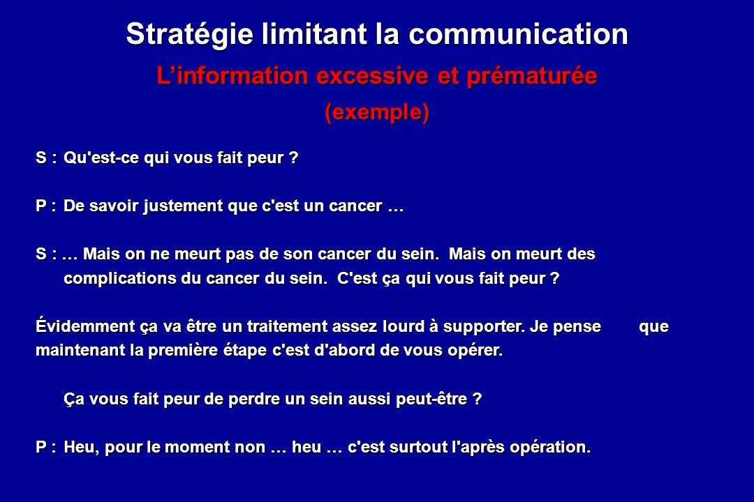 Stratégie limitant la communication Linformation excessive et prématurée (exemple) S :Qu'est-ce qui vous fait peur ? P :De savoir justement que c'est