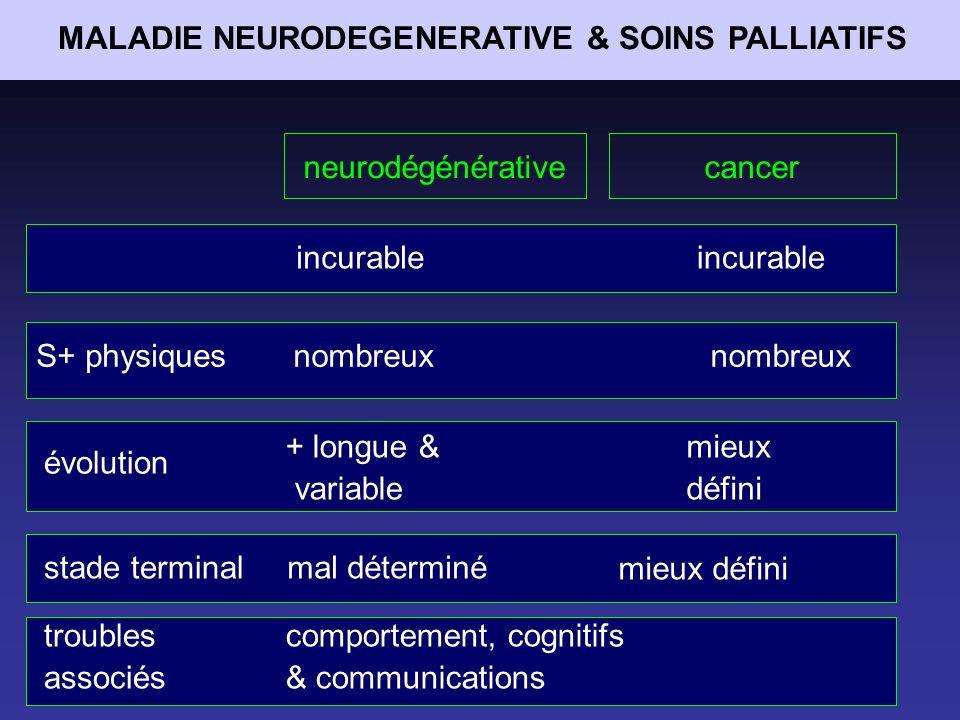 MALADIES NEURODEGENERATIVES & SOINS PALLIATIFS SLEROSE LATERALE AMYOTROPHIQUE
