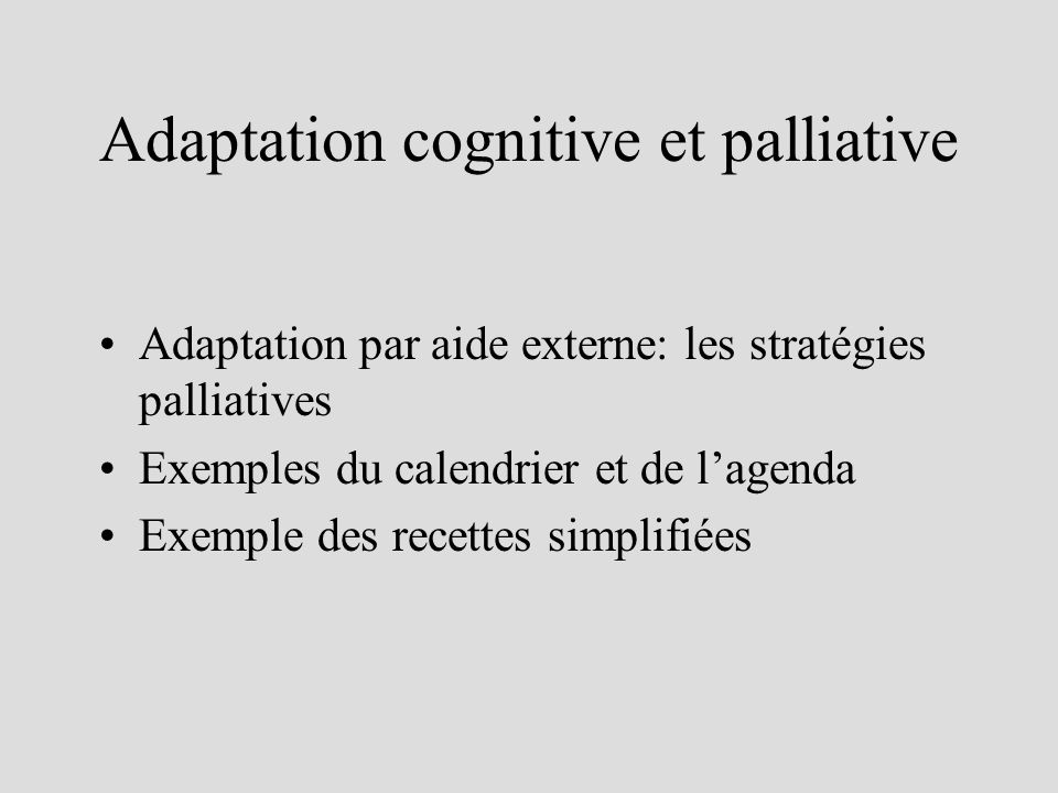 Adaptation cognitive et palliative Adaptation par aide externe: les stratégies palliatives Exemples du calendrier et de lagenda Exemple des recettes s