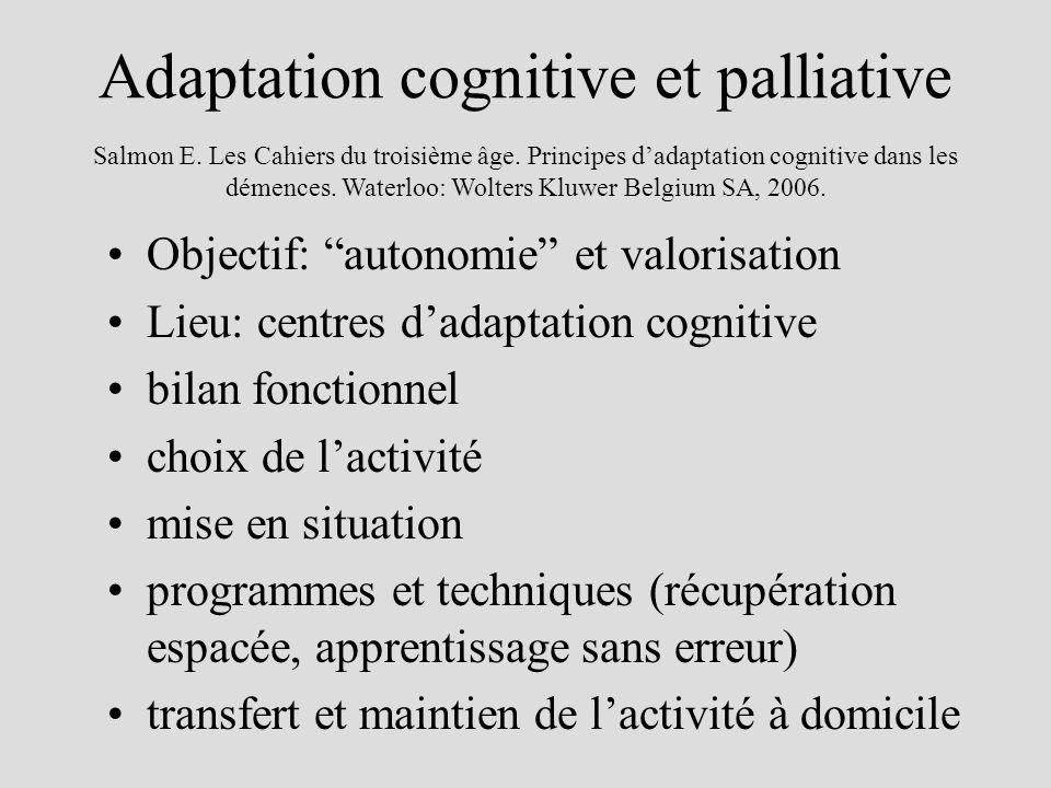 Adaptation cognitive et palliative Objectif: autonomie et valorisation Lieu: centres dadaptation cognitive bilan fonctionnel choix de lactivité mise e