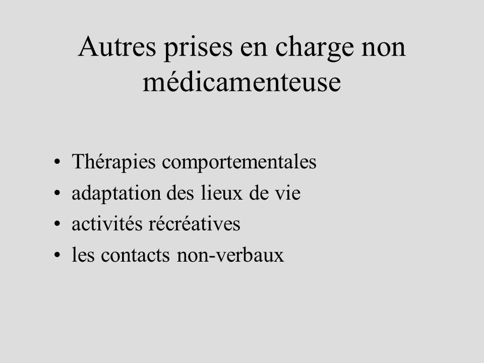 Autres prises en charge non médicamenteuse Thérapies comportementales adaptation des lieux de vie activités récréatives les contacts non-verbaux
