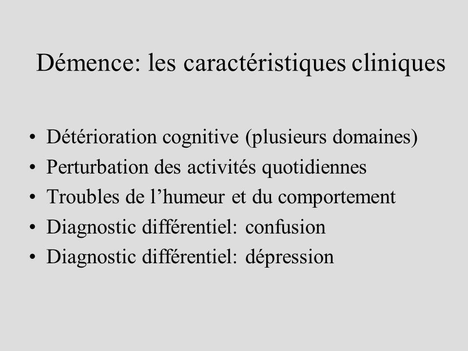 Démence: les caractéristiques cliniques Détérioration cognitive (plusieurs domaines) Perturbation des activités quotidiennes Troubles de lhumeur et du comportement Diagnostic différentiel: confusion Diagnostic différentiel: dépression