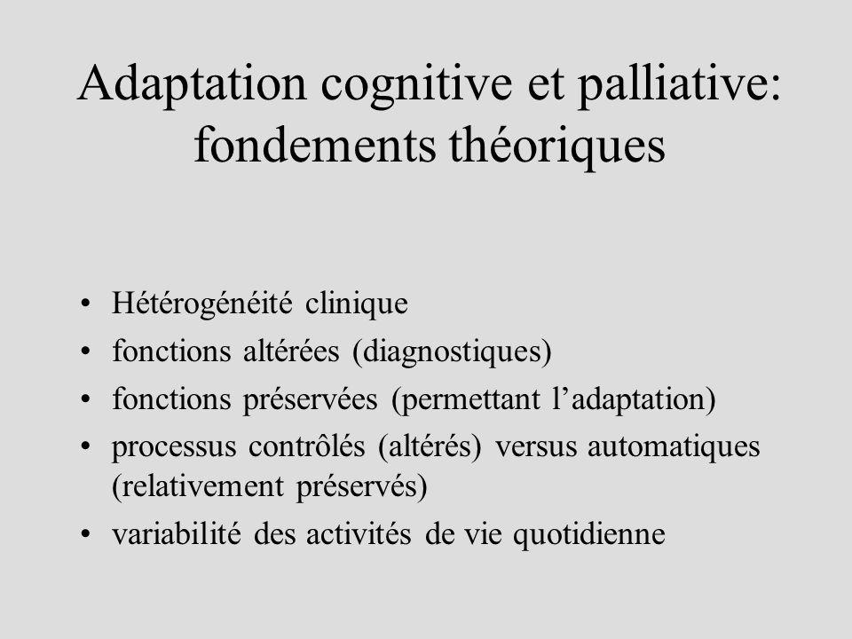 Adaptation cognitive et palliative: fondements théoriques Hétérogénéité clinique fonctions altérées (diagnostiques) fonctions préservées (permettant ladaptation) processus contrôlés (altérés) versus automatiques (relativement préservés) variabilité des activités de vie quotidienne