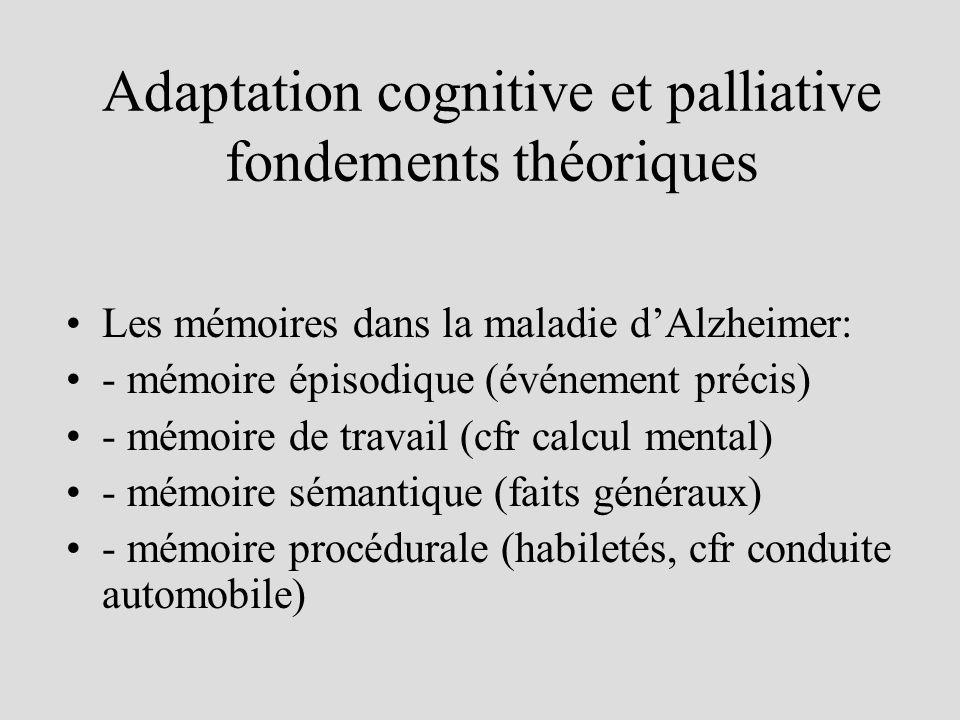 Adaptation cognitive et palliative fondements théoriques Les mémoires dans la maladie dAlzheimer: - mémoire épisodique (événement précis) - mémoire de travail (cfr calcul mental) - mémoire sémantique (faits généraux) - mémoire procédurale (habiletés, cfr conduite automobile)