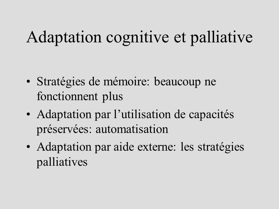 Adaptation cognitive et palliative Stratégies de mémoire: beaucoup ne fonctionnent plus Adaptation par lutilisation de capacités préservées: automatisation Adaptation par aide externe: les stratégies palliatives