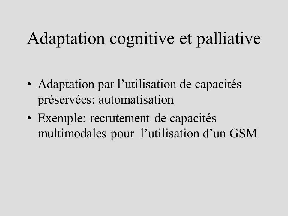 Adaptation cognitive et palliative Adaptation par lutilisation de capacités préservées: automatisation Exemple: recrutement de capacités multimodales