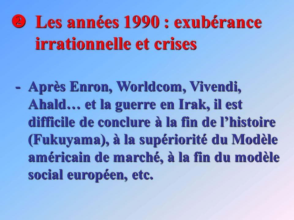 Les années 1990 : exubérance irrationnelle et crises Les années 1990 : exubérance irrationnelle et crises -Après Enron, Worldcom, Vivendi, Ahald… et la guerre en Irak, il est difficile de conclure à la fin de lhistoire (Fukuyama), à la supériorité du Modèle américain de marché, à la fin du modèle social européen, etc.