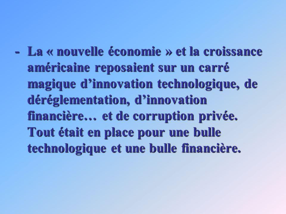 -La « nouvelle économie » et la croissance américaine reposaient sur un carré magique dinnovation technologique, de déréglementation, dinnovation fina