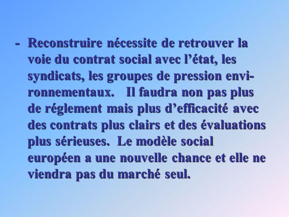 -Reconstruire nécessite de retrouver la voie du contrat social avec létat, les syndicats, les groupes de pression envi- ronnementaux. Il faudra non pa