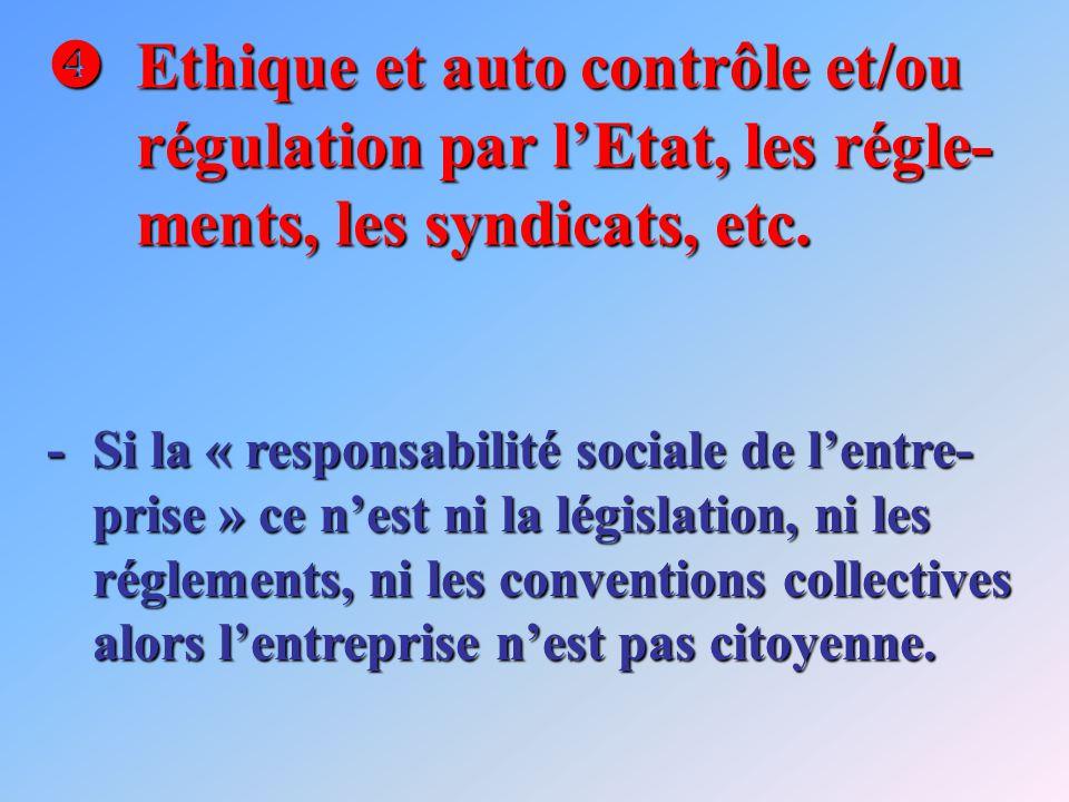 Ethique et auto contrôle et/ou régulation par lEtat, les régle- ments, les syndicats, etc. Ethique et auto contrôle et/ou régulation par lEtat, les ré