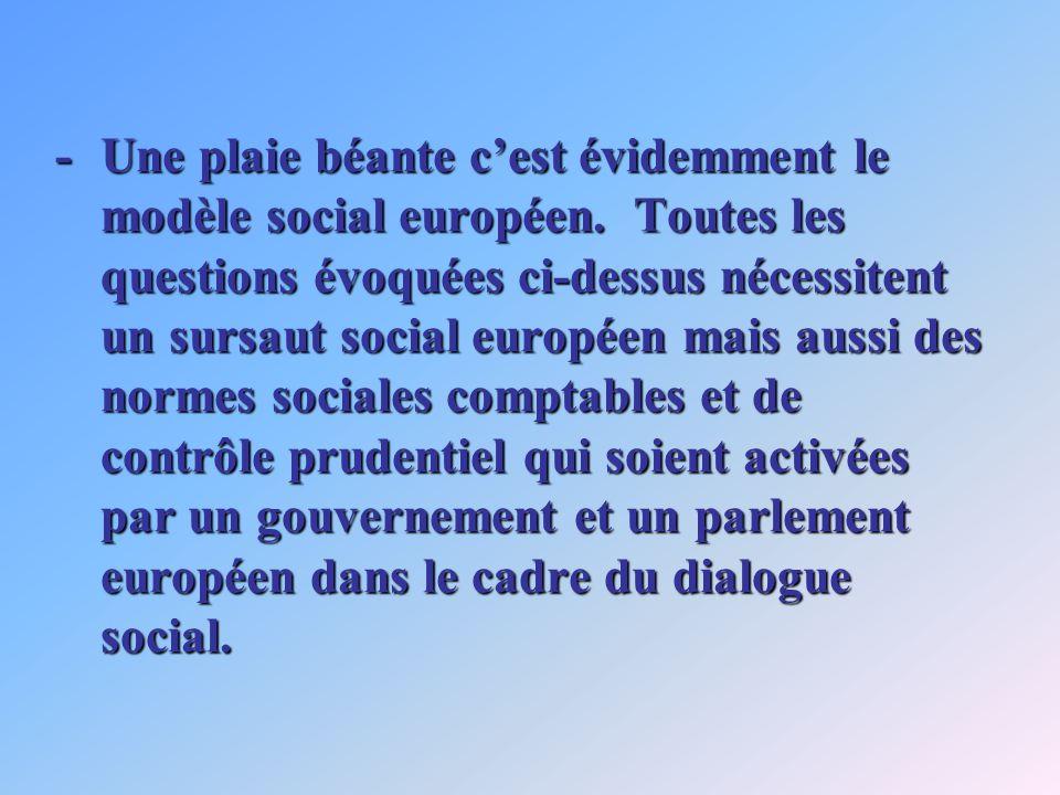-Une plaie béante cest évidemment le modèle social européen. Toutes les questions évoquées ci-dessus nécessitent un sursaut social européen mais aussi