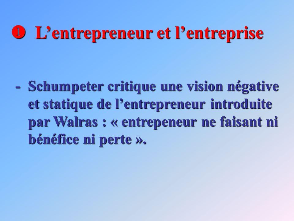Lentrepreneur et lentreprise Lentrepreneur et lentreprise -Schumpeter critique une vision négative et statique de lentrepreneur introduite par Walras : « entrepeneur ne faisant ni bénéfice ni perte ».