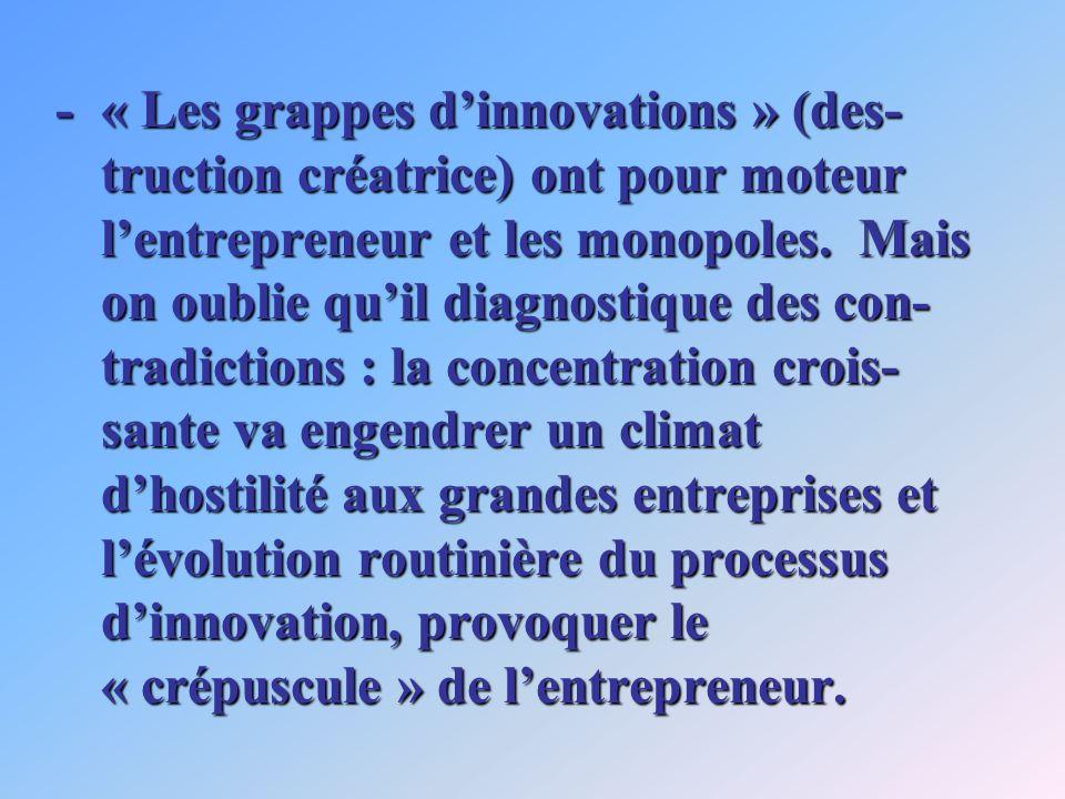 -« Les grappes dinnovations » (des- truction créatrice) ont pour moteur lentrepreneur et les monopoles.