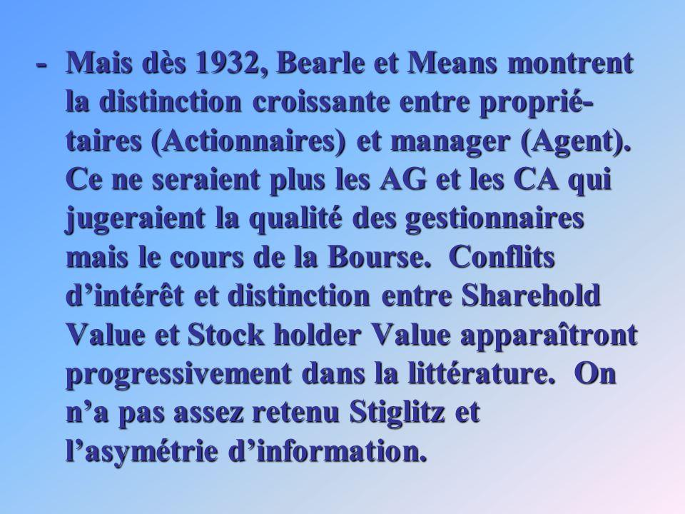 -Mais dès 1932, Bearle et Means montrent la distinction croissante entre proprié- taires (Actionnaires) et manager (Agent). Ce ne seraient plus les AG
